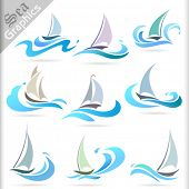 stock photo of sails  - Sea Graphics Series  - JPG