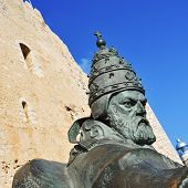 PENISCOLA, SPAIN - JULY, 26: Sculpture of Benedict XIII on July 26, 2013 in Peniscola, Spain. The st