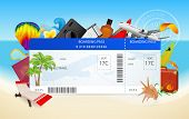 Travel by plane. Conceptual vector illustration of boarding pass (ticket) with vacation equipment