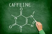 Caffeine molecule blackboard. chemical molecule structure on chalkboard. Caffeine molecule drawing on chalkboard as it is found in coffee and tea etc.