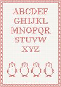 Red knitted alphabet with penguin Vector illustration