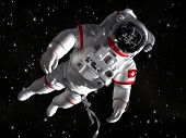 The astronaut in outer space against stars