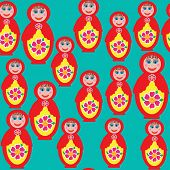 Bright Seamless Pattern With A Russian Matryoshka Doll For A National Design Covers, Tissue, Packagi