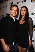 Todd Roy and Adrianne Curry at the Comikaze red carpet Launch Party, Whimsic Alley, Los Angeles, CA