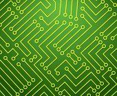 Green and Yellow Printed Circuit Board