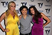 Mary Carey, Dat Phan and Alicia Arden on the set of
