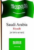 Saudi Arabia Wavy Flag And Coordinates