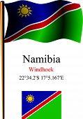 Namibia Wavy Flag And Coordinates