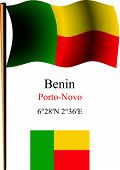 Benin Wavy Flag And Coordinates