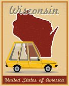 wisconsin road trip vintage poster