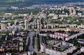stock photo of xx  - Aerial view of a large city in northern Europe Russian Federation Saint Petersburg city outskirts building the second half of the XX century - JPG