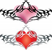 Heart shape wire barb tattoo design for valentine day