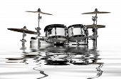 stock photo of drum-kit  - sinking white drum kit on reflective water surface in white back - JPG