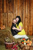 Young Couple On Hayloft