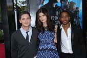 Logan Lerman, Alexandra Daddario and Brandon T. Jackson at the
