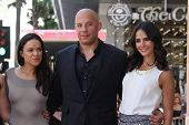 Katee Sackhoff, Jordana Brewster, Vin Diesel and Michelle Rodriguez at the Vin Diesel Star on the Ho