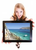 Businesswoman Showing Tablet Touchpad Photo Summer Vacation