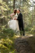 Bride And Groom In Forest With Soft Focus poster