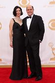 Matthew Weiner and Linda Brettler at the 65th Annual Primetime Emmy Awards Arrivals, Nokia Theater,