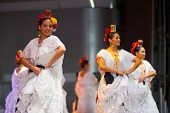 Female Mexican Folk Dancers White Dress Beautiful
