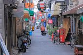 Back street traditional life in Osaka Japan