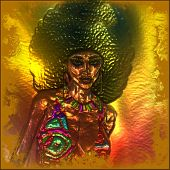 Abstract, metallic afro hairstyle