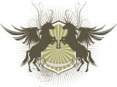 pic of pegasus  - funky pegasus shield pattern design - JPG