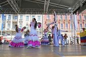 ZAGREB,CROATIA - JULY 16: Members of folk group Colombia Folklore Foundation from Santiago de Cali,