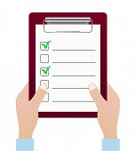 checklist icon with hands - design element
