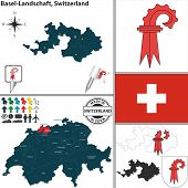 Map Of Basel-landschaft, Switzerland