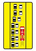 Traffic Sign Advise Cars To Give Right Way To Fire Engine.