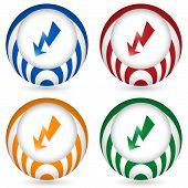 Set Of Four Icon With Flash Symbol