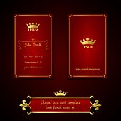 Business card template in royal red and gold style
