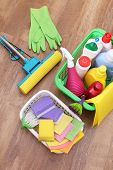 Collection of cleaning products and tools