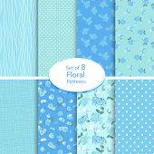 Set of eight seamless floral backgrounds