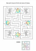 Maze game for kids with mice and cheese slices
