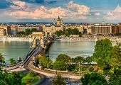 The Szechenyi Chain Bridge, Basilica And The Budapest Eye