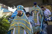 TIKHVIN, RUSSIA - JULY 9, 2014: Unidentified participants Orthodox divine Liturgy on the occasion ce