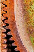 Old And Rusty Pinion Gear Of Mechanical Machine