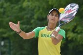 MOSCOW, RUSSIA - JULY 17, 2014: Joana Cortez of Brazil on the training before the ITF Beach Tennis W