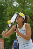 MOSCOW, RUSSIA - JULY 17, 2014: Samantha Barijan of Brazil on the training before the ITF Beach Tenn