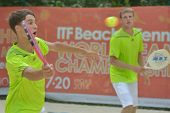 MOSCOW, RUSSIA - JULY 17, 2014: Men team Lithuania in the match with Israel during ITF Beach Tennis