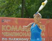 MOSCOW, RUSSIA - JULY 17, 2014: Alona Pushkarevsky of Israel in the match with Lithuania during ITF