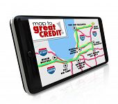 Map to Great Credit words on a smart phone navigation app road map as directions