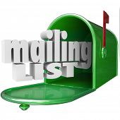 pic of mailbox  - Mailing List words 3d letters mailbox direct marketing advertising your company business - JPG