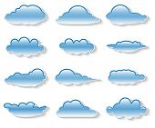 Illustration messages in the form of clouds on white  background. Vector.