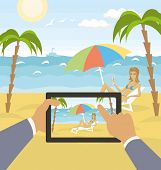 outdoors sea landscape with woman and hands with touch pad