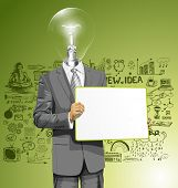 Idea concept. lamp head business man holding empty write board in his hands
