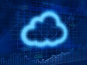 Cloud computing symbol on finance background