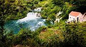 Beautiful long exposure panorama of waterfalls of the Krka river in Krka national park in Croatia